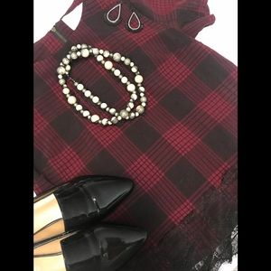 Plaid Blouse with Black Lace Trim